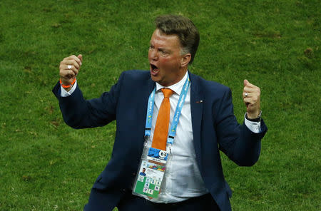 Netherlands coach van Gaal reacts in the sidelines during the 2014 World Cup third-place playoff between Brazil and Netherlands in Brasilia
