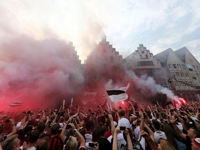 Eintracht Frankfurt greeted by incredible scenes in city centre as thousands of fans celebrate DFB-Pokal Cup final win