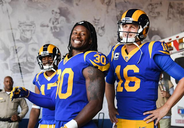 Running back Todd Gurley (30) and quarterback Jared Goff (16) were all smiles before and after the Rams defeated the Vikings to stay unbeaten. (Getty Images)