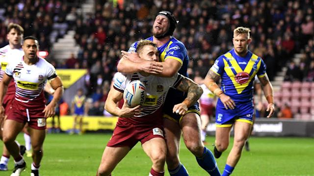 Warrington Wolves were reduced to 12 men early on against Wigan Warriors, who ultimately saw out a cagey win to start their season in style.