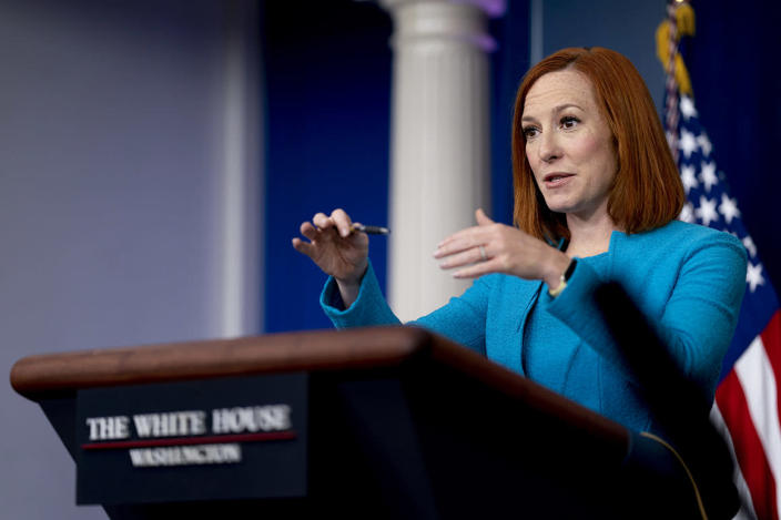 White House press secretary Jen Psaki speaks during a press briefing at the White House in Washington, Thursday, April 15, 2021. (AP Photo/Andrew Harnik)