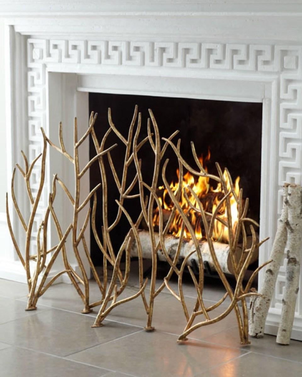 gold branch fireplace screen, fall decorating tips