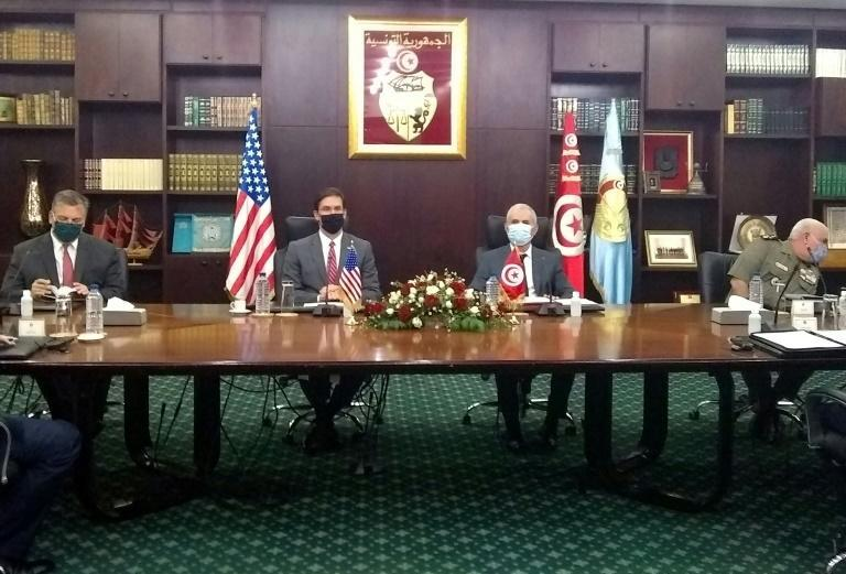 US Secretary of Defense Mark Esper, seated second from the left, meets with his Tunisian counterpart Ibrahim Bartagi, seated to his right, in the capital Tunis