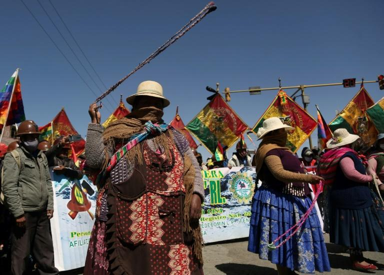 Morales supporters block the highway between La Paz and El Alto on August 12, 2020