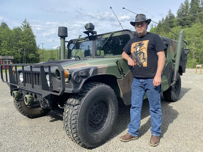 Joe Bongiovanni, of Toutle, Wash., installed thermal imaging equipment in a military Humvee to search for Sasquatch in forests below Mt. St. Helens.