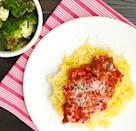 """<p>You won't even miss the carbs.</p><p>Get the recipe from <a href=""""https://www.delish.com/cooking/recipe-ideas/recipes/a43797/parmesan-spaghetti-squash-tomato-sauce-roasted-broccoli-recipe/"""" rel=""""nofollow noopener"""" target=""""_blank"""" data-ylk=""""slk:Delish"""" class=""""link rapid-noclick-resp"""">Delish</a>.</p>"""