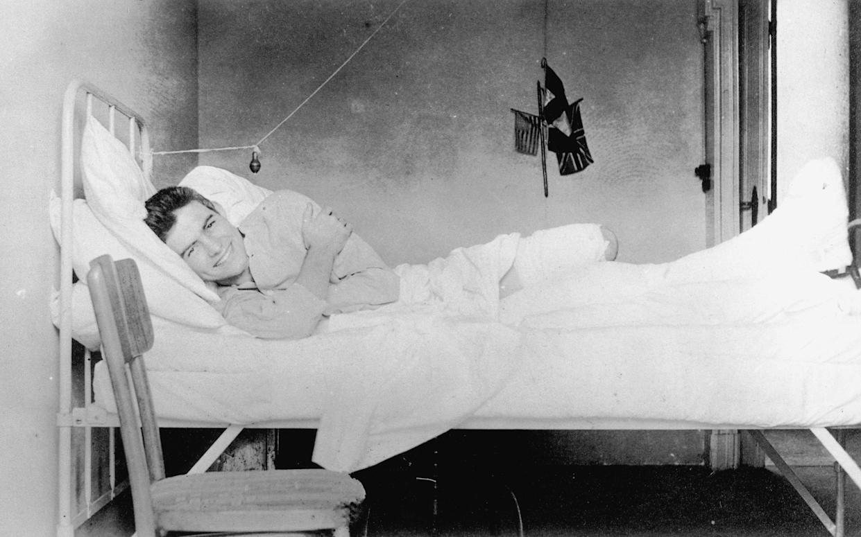 Ernest Hemingway recovering from injuries at the American Red Cross Hospital in Milan, Italy, 1918. (BBC/Ernest Hemingway Collection, John F. Kennedy Presidential Library and Museum, Boston)