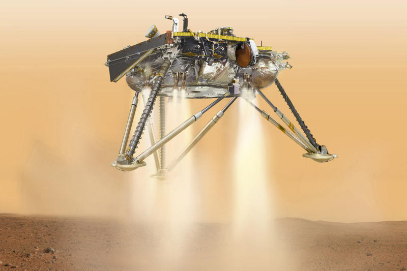 This illustration shows NASA's InSight lander about to touch down on the surface of Mars. (ASSOCIATED PRESS)