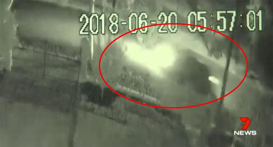 Security video shows a dark car in the area at the time of the attack. Source: 7 News
