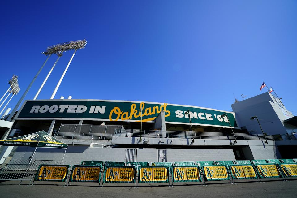 OAKLAND, CA - OCTOBER 02:  A general view of the exterior of Oakland Coliseum prior to the AL Wild Card game between the Tampa Bay Rays and the Oakland Athletics on Wednesday, October 2, 2019 in Oakland, California. (Photo by Daniel Shirey/MLB Photos via Getty Images)