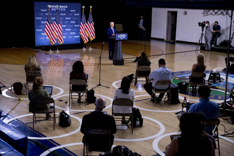 """Former Vice President Joe Biden, the presumptive Democratic nominee to challenge President Donald Trump, speaks July 28, 2020, at a campaign event at the William """"Hicks"""" Anderson Community Center in Wilmington, Del."""