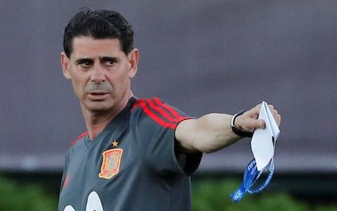 Spain coach Fernando Hierro during training - Credit: REUTERS/Stringer