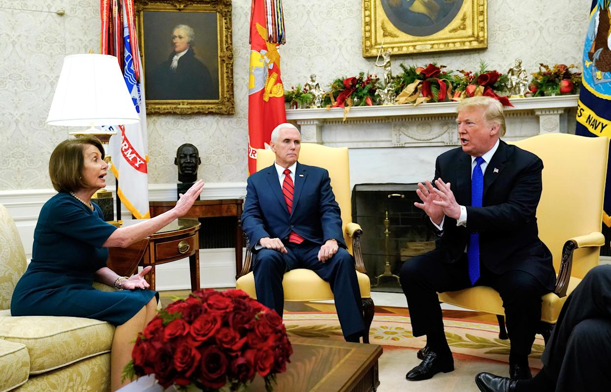 """<span class=""""s1"""">The scene as House Minority Leader Nancy Pelosi, Vice President Mike Pence, President Trump and Senate Minority Leader Chuck Schumer met in the Oval Office on Tuesday. (Photo: Kevin Lamarque/Reuters)</span>"""