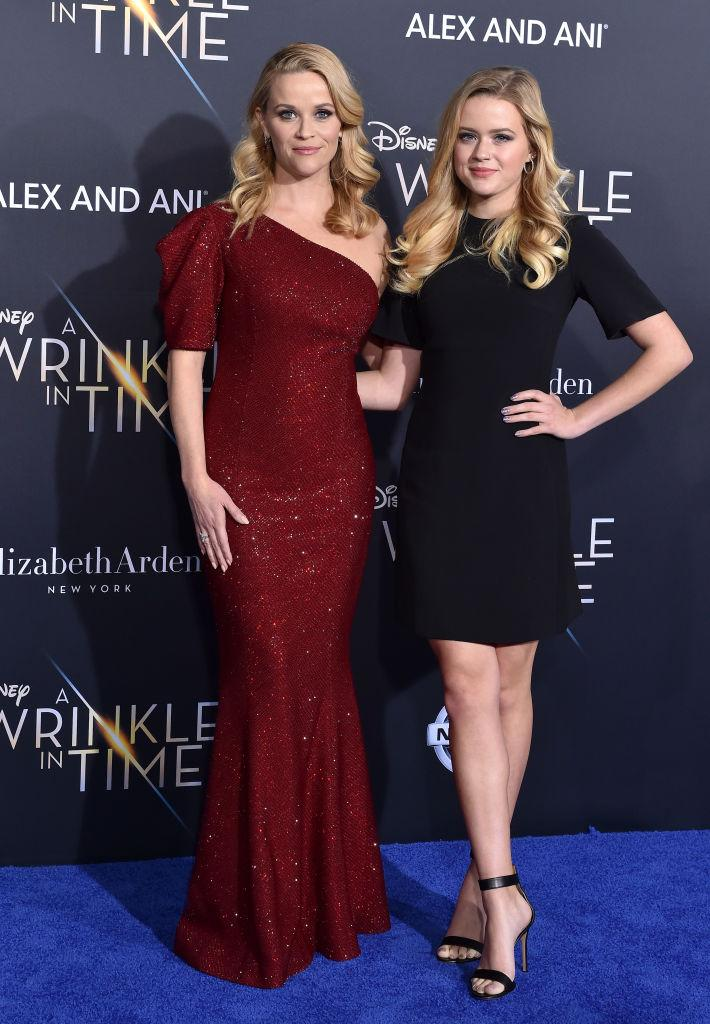 Strong family genes, Reese Witherspoon and daughter Ava Phillippe arrive at the premiere of Disney's 'A Wrinkle In Time' in 2018 (Getty)