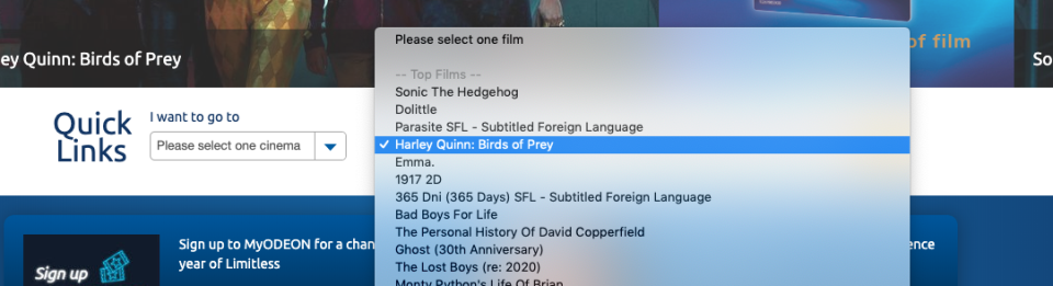 Odeon's ticket listing for Birds of Prey, as of Wednesday 12 February, 2020. (www.odeon.co.uk)