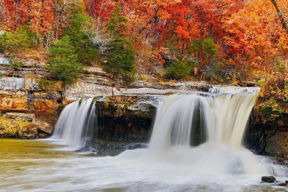 """<p><strong>Where to go:</strong> Cataract Falls in Central Indiana are the state's largest waterfalls, and they look all the more impressive surrounded by glorious fall color.</p><p><strong>When to go: </strong>Early November</p><p><a class=""""link rapid-noclick-resp"""" href=""""https://go.redirectingat.com?id=74968X1596630&url=https%3A%2F%2Fwww.tripadvisor.com%2FHotels-g28935-Indiana-Hotels.html&sref=https%3A%2F%2Fwww.redbookmag.com%2Flife%2Fg34045856%2Ffall-colors%2F"""" rel=""""nofollow noopener"""" target=""""_blank"""" data-ylk=""""slk:FIND A HOTEL"""">FIND A HOTEL</a></p><p><strong>RELATED: <a href=""""https://www.goodhousekeeping.com/holidays/halloween-ideas/g23480666/pumpkin-patch-near-me/"""" rel=""""nofollow noopener"""" target=""""_blank"""" data-ylk=""""slk:The Best Pumpkin Patch in Every Single State"""" class=""""link rapid-noclick-resp"""">The Best Pumpkin Patch in Every Single State</a></strong></p>"""