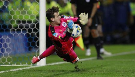 Britain Football Soccer - Sheffield Wednesday v Huddersfield Town - Sky Bet Championship Play Off Semi Final Second Leg - Hillsborough - 17/5/17 Huddersfield Town's Danny Ward makes a save to win the penalty shoot out  Action Images via Reuters / Jason Cairnduff