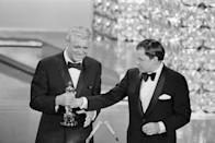 """<p>In 1970, Grant ended his boycott of the Academy Awards after being given an honorary Oscar for his """"unique mastery of the art of screen acting."""" The award was presented to him by his friend, Frank Sinatra. </p>"""