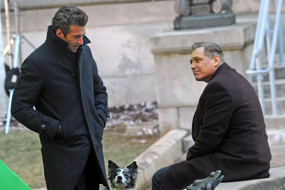 <p>Patrick Dempsey and Holt McCallany get to work on the set of <em>Ways & Means</em> in Princeton, New Jersey, on Thursday.</p>