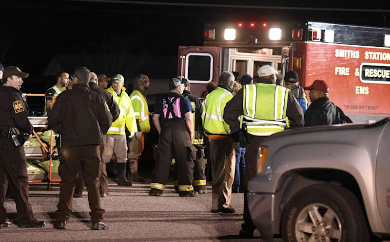 Emergency personnel work the staging area at Sanford Middle School in Beauregard, Ala., March 3, 2019, after tornados ravaged the area, causing multiple fatalities. (Photo: Julie Bennett/AP)
