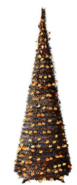 6FT Pop Up Tinsel Pencil Trees with Plump Shiny Pumpkin