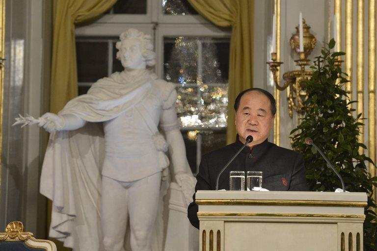 """Chinese Nobel literature laureate Mo Yan delivers his Nobel lecture in Stockholm on Friday. He was assailed in the Chinese dissident community as a """"prostitute"""" after the speech, which was acclaimed in the communist state's media"""