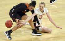 Oregon State forward Taya Corosdale (5) and Stanford forward Cameron Brink (22) reach for the ball during the first half of an NCAA college basketball game in the semifinal round of the Pac-12 women's tournament Friday, March 5, 2021, in Las Vegas. (AP Photo/Isaac Brekken)