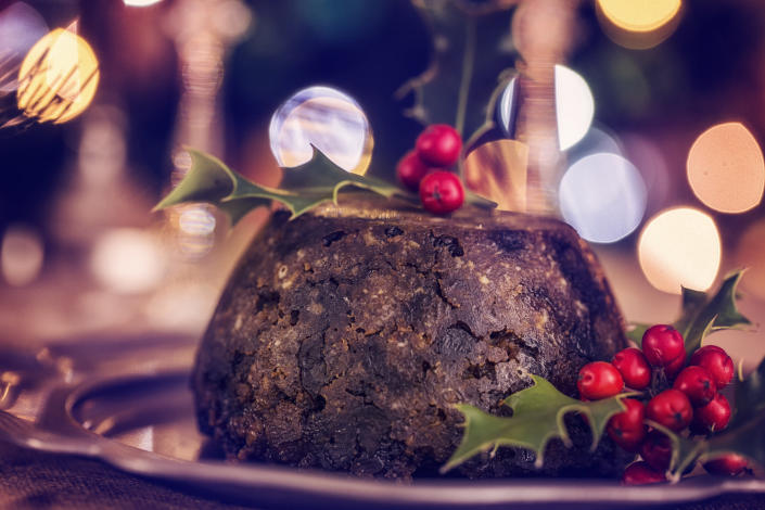 """<p>It isn't Christmas without a good old fashioned Christmas pudding. And you can make it up to six months in advance if you really wish (simply freeze ahead of the big day).<br><br>Take a look at the <a rel=""""nofollow noopener"""" href=""""http://www.goodtoknow.co.uk/recipes/428012/christmas-pudding"""" target=""""_blank"""" data-ylk=""""slk:BBC's"""" class=""""link rapid-noclick-resp""""><em>BBC's</em></a> recipe for some inspo.<br><br><em>Ingredients:</em><br> 750g mixed dried fruit<br> 250g (8oz) dark muscavado sugar<br> 60g (2oz) plain flour<br> 150g (5oz) breadcrumbs<br> 250g (8oz) shredded vegetable suet<br> 1 level tablespoon ground mixed spice<br> 1 level teaspoon ground ginger<br> 2 medium eggs<br> 200ml (7 fl oz) Guinness<br> pinch of Bicarbonate of soda, baking powder and salt<br> 1.25litre (2pint) pudding basin, greased<br> 3-4 tablespoons brandy, to flame<br> Brandy butter balls, to serve<br><em>[Photo: Getty]</em> </p>"""