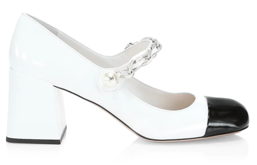 Miu Miu's patent leather Mary Jane pumps. - Credit: Courtesy of Saks Fifth Avenue