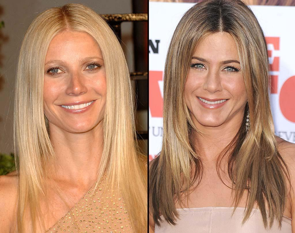 """A-list actresses Gwyneth Paltrow and Jennifer Aniston are used to stealing the spotlight with their fab frocks and long legs, but who wore their hair better in a pretty, parted-down-the-middle 'do? In this case, we give the edge to the """"Glee"""" glamazon for her shine for days and for her healthier-looking mane! <a href=""""http://www.wireimage.com"""" target=""""new"""">WireImage.com</a> - March 1, 2011"""