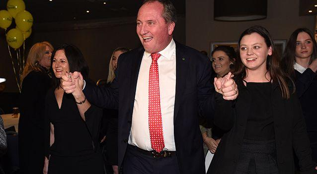 Barnaby Joyce celebrates victory with wife Natalie and their daughters after he claimed the seat of New England in 2016. Source: AAP