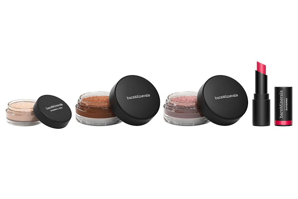 """<p>Go glam for the holidays with this limited edition four-piece set of some of the brand's best-sellers, including finishing powder, bronzer, blush and lipstick. With a $61 value, this set's a steal! </p> <p><strong>Buy It!</strong> $15, <a href=""""https://click.linksynergy.com/deeplink?id=93xLBvPhAeE&mid=42594&murl=https%3A%2F%2Fwww.bareminerals.com%2Fholiday%2Fshop-all-holiday%2F4-piece-cheek-%26amp%3B-lip-set%2FUS41700188101.html&u1=PEOGeniusHolidayGiftIdeasUnder25sdodd1271LifGal12372801202011I"""" rel=""""nofollow noopener"""" target=""""_blank"""" data-ylk=""""slk:bareminerals.com"""" class=""""link rapid-noclick-resp"""">bareminerals.com</a></p>"""