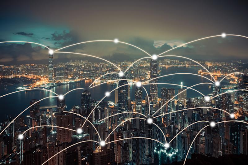 Networking connections across a city.