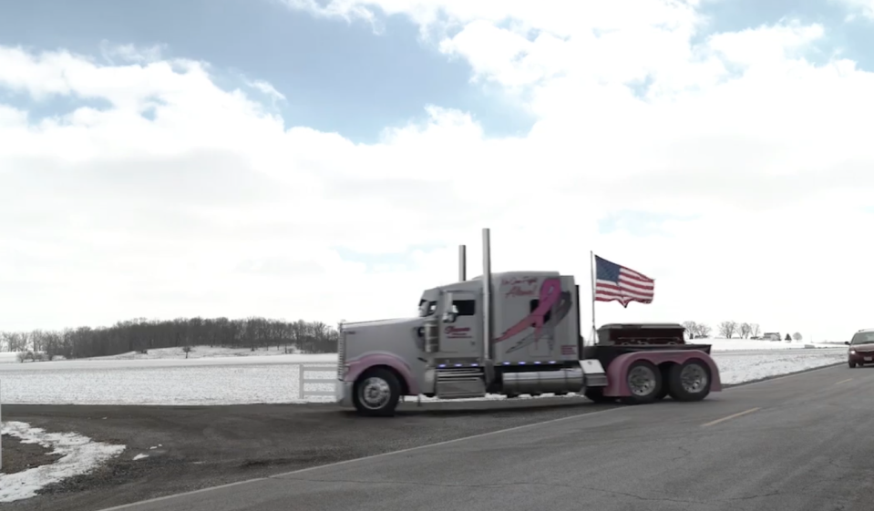 Mark Shuman's family paid tribute to his work with a convoy of semis heading to his funeral. (Photo: Facebook/Luke Shuman)