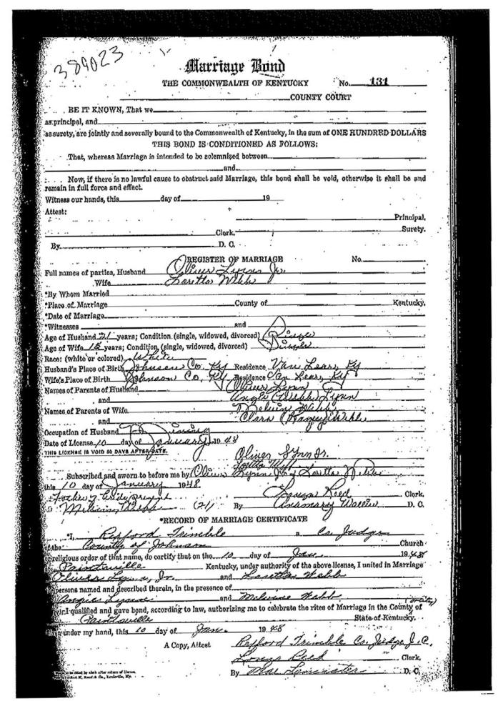 """An undated image provided by the Johnson County, Ky., clerk's office shows Loretta Lynn's marriage certificate for her marriage to Oliver Vanetta Lynn, Jr. Newly discovered documents indicate country music legend Lynn is three years older than she has led people to believe, a change that casts shadows on the story told in """"Coal Miner's Daughter."""" In Lynn's 1976 bestselling autobiography, she says she was married at 13, moved with her husband to Washington State at 16 and was a mother of four by 18. Lynn was instead married at 15, which was not unusual at that place and time. (AP Photo/Johnson County, Ky., clerk's office)"""
