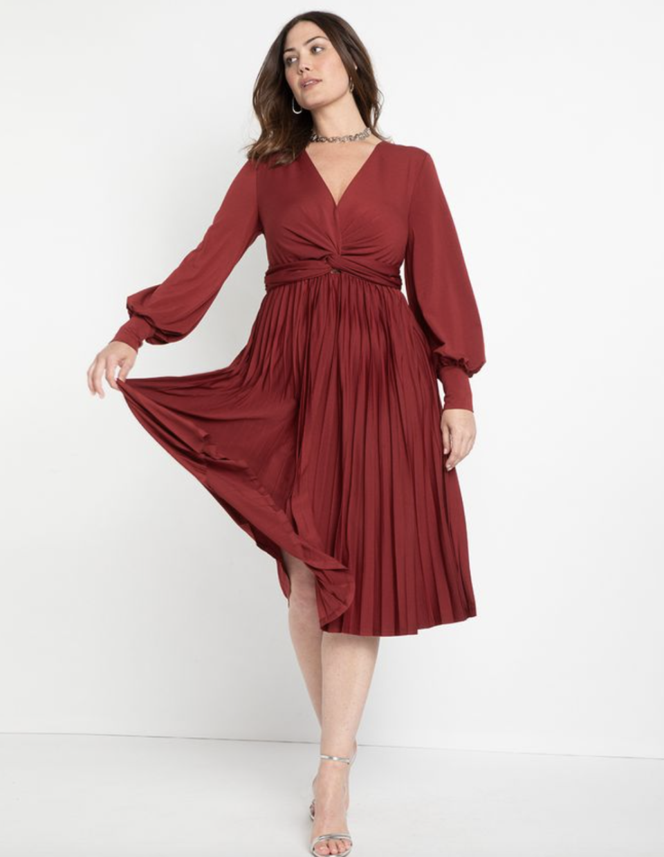 red plus size mini Knot Front Pleated Skirt Dress in Cabernet