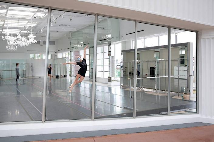Miami City Ballet dancer Nicole Stalker rehearses in the new pop-up studio space on Lincoln Road.