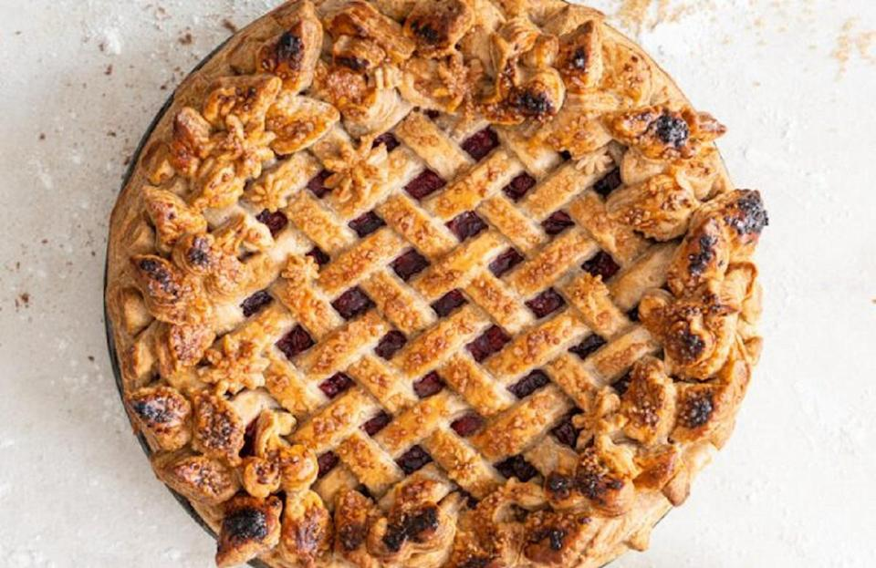 """<p>Cherry pie is a staple at <a href=""""https://www.theactivetimes.com/travel/past-present-iconic-state-fairs-america?referrer=yahoo&category=beauty_food&include_utm=1&utm_medium=referral&utm_source=yahoo&utm_campaign=feed"""" rel=""""nofollow noopener"""" target=""""_blank"""" data-ylk=""""slk:America's biggest and best state fairs"""" class=""""link rapid-noclick-resp"""">America's biggest and best state fairs</a>, but when's the last time you made the dessert at home? This tart cherry pie recipe is great for beginner bakers hoping to practice their skills. The lattice crust and spiced dough add flare to this tried-and-true dish.</p> <p><a href=""""https://www.thedailymeal.com/best-recipes/tart-cherry-pie-spiced-crust?referrer=yahoo&category=beauty_food&include_utm=1&utm_medium=referral&utm_source=yahoo&utm_campaign=feed"""" rel=""""nofollow noopener"""" target=""""_blank"""" data-ylk=""""slk:For the Tart Cherry Pie with Spiced Crust recipe, click here."""" class=""""link rapid-noclick-resp"""">For the Tart Cherry Pie with Spiced Crust recipe, click here.</a></p>"""