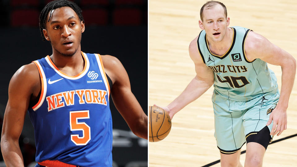 Immanuel Quickley and Cody Zeller, pictured here in action in the NBA.