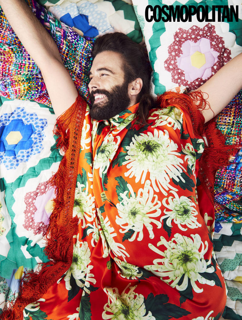 Queer Eye's Jonathan Van Ness in the January 2020 issue of Cosmopolitan. [Photo: Rachell Smith/PA Wire]