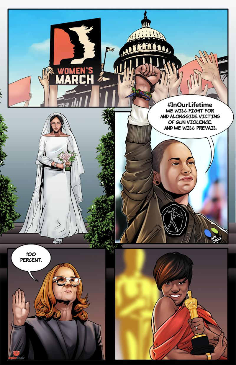 The Women's March, Emma González, Viola Davis, Christine Blasey-Ford and Meghan Markle also get shoutouts. (Photo: NerdBear.com)