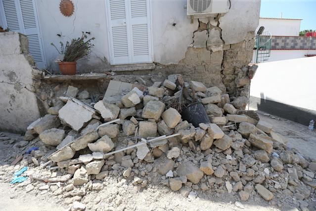 <p>A house, destroyed in the earthquake, is seen in one of the more heavily damaged areas on Aug. 22, 2017 in Casamicciola Terme, Italy. (Photo: Marco Cantile/NurPhoto via Getty Images) </p>