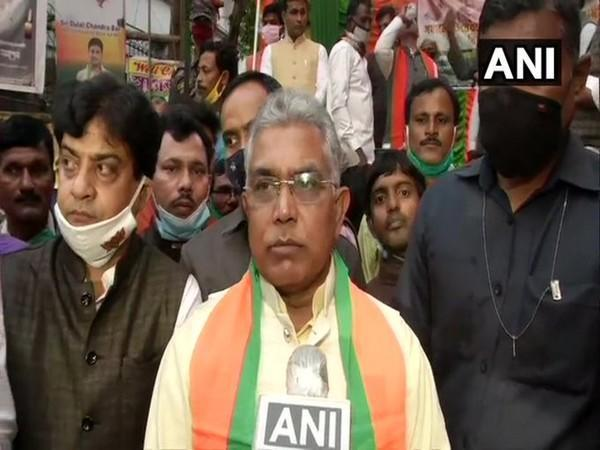 West Bengal BJP  chief Dilip Ghosh talking to media on Wednesday. (Photo/ANI)