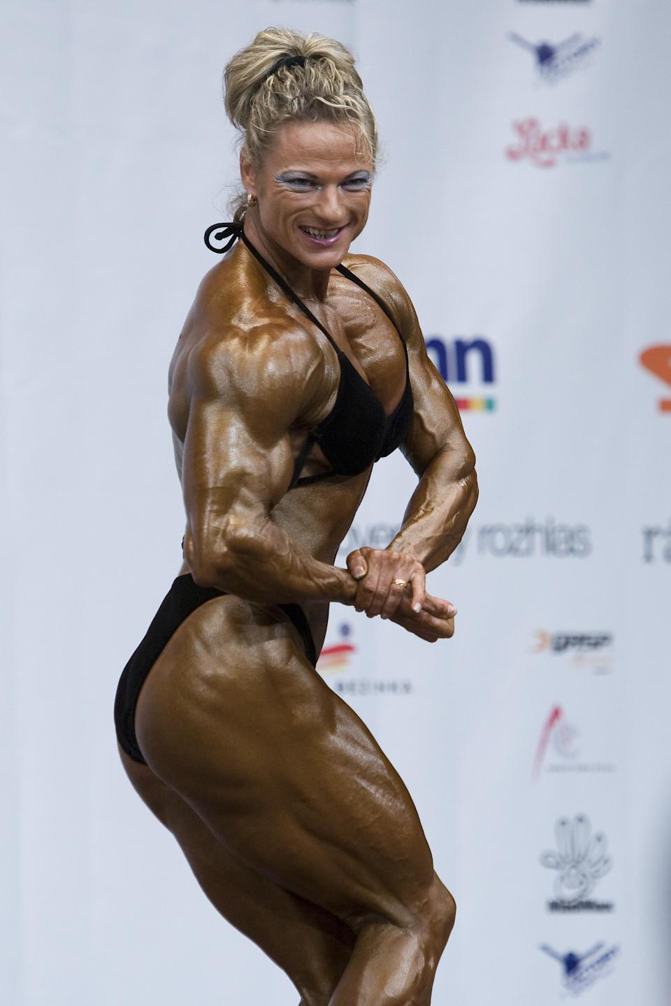 "<div class=""caption-credit"">Photo by: Tomas Hudcovic/isifa/Getty Images</div><p> The darker, more bronzed the tan, the sharper the muscle striations appear. That may win points with the judges, but a mismatched face blows it with audience members. ""If your face doesn't match your tan that's going to work against you,"" says Colbert, ""even if you've got the body judges are looking for."" </p>"