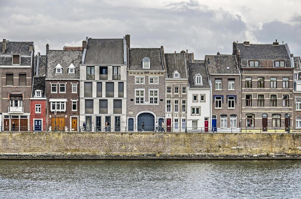 A row of buildings in Maastricht, Netherlands.
