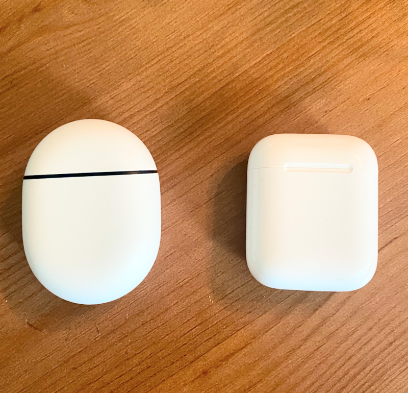 Google Pixel Buds 2 vs. Apple AirPods cases. (Image courtesy of Kate Mendonca)