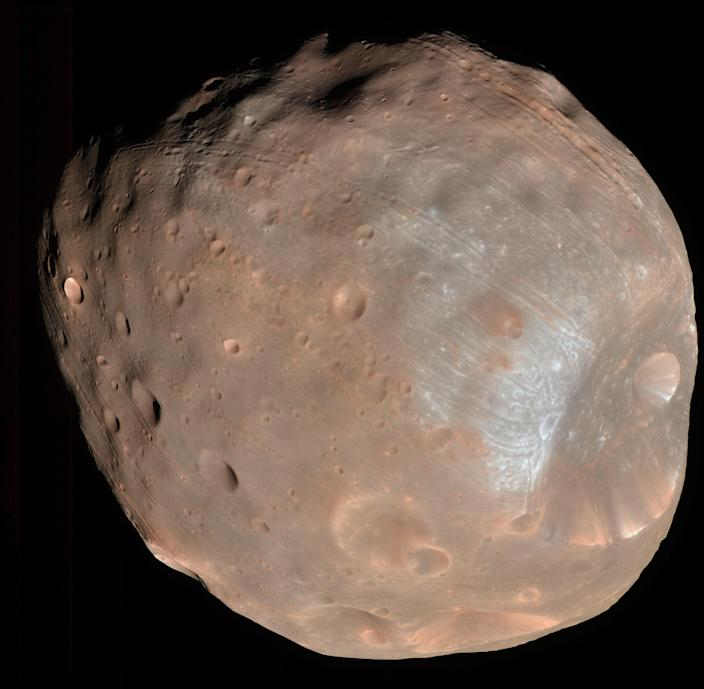 "The HiRISE camera on NASA's Mars Reconnaissance Orbiter took two images of Phobos on March 23, 2008. <p class=""copyright"">NASA/JPL-Caltech/University of Arizona</p>"