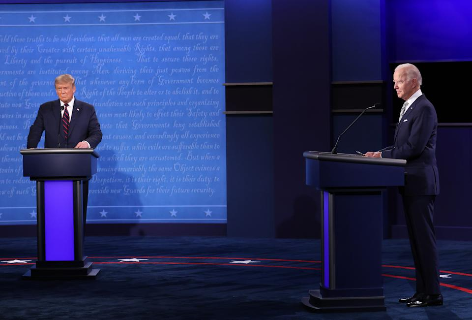 President Donald Trump and Democratic presidential nominee Joe Biden participate in the first presidential debate at the Health Education Campus of Case Western Reserve University on Tuesday.