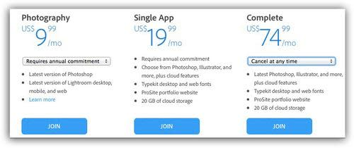 Screenshot of three pricing packages