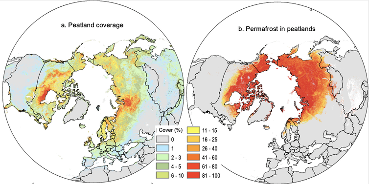 Maps showing the location of northern peatlands and permafrost.